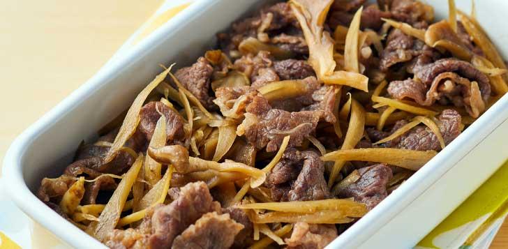 牛肉とマイタケ、ごぼうのしぐれ煮